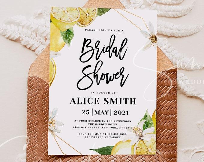 Boho Lemon Wreath Bridal Shower Invitation Template, Rustic Lemon Invite, Bridal Shower Invitation Template, Instant Download, Templett, L1