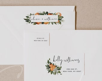 Citrus Wedding Envelope Address Label Template, Printable Envelope Return Sticker, Recipient Address Sticker, Instant Download Templett C2