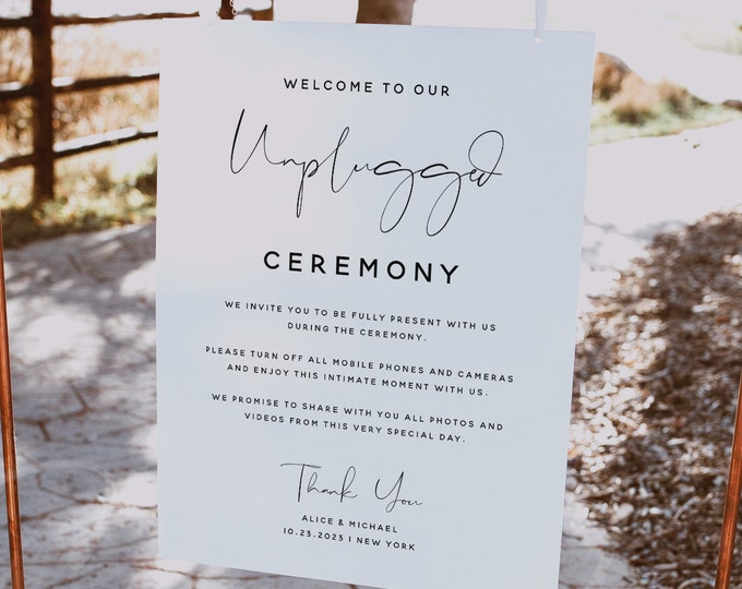 Unplugged Ceremony Sign Template, No Pictures, No Photos Please, Minimalist Unplugged Sign, Wedding Sign, Instant Download, Templett, M4