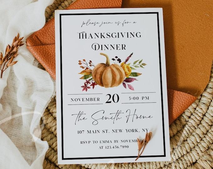 Thanksgiving Invitation, Thanksgiving Dinner Invitation, Pumpkin Party Invitation Card, Printable Thanksgiving Invite, Instant Download, TG5