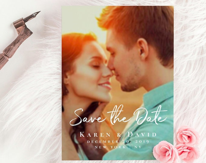 Photo save the date template DIY save the date Save the date photo template Wedding announcement cards Photo save the date printable cards