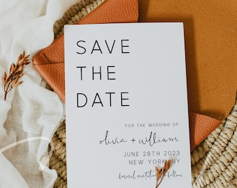 Save the Date Template, Modern Minimalist Wedding Save the Date Card, Electronic Save the Date Template, Save the Date, Instant Download, M9
