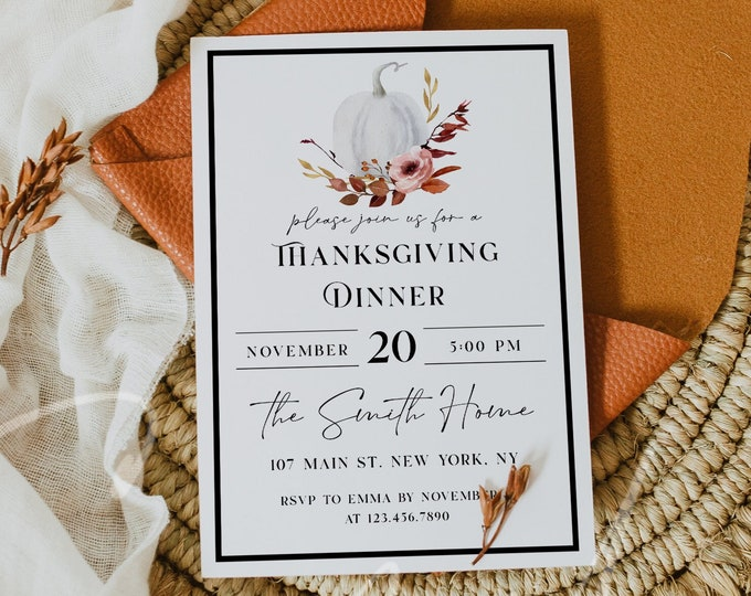 Thanksgiving Invitation, Thanksgiving Dinner Invitation, Pumpkin Party Invitation Card, Printable Thanksgiving Invite, Instant Download, TG4