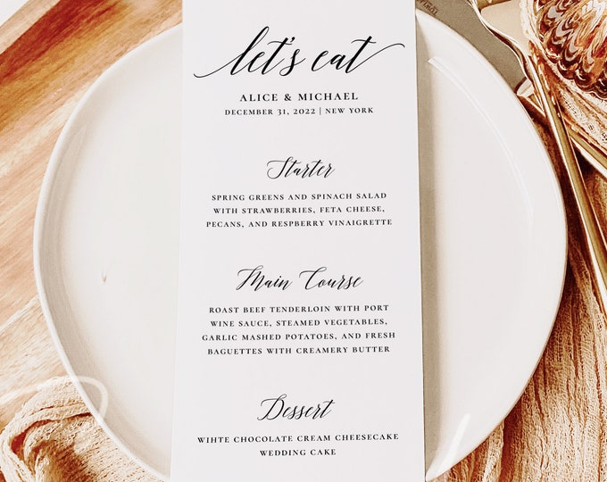 Modern Wedding Menu Template, Minimalist Wedding Dinner Menu, Printable, Digital Download, Reception Dinner Menu, 100% Editable, DIY, R2