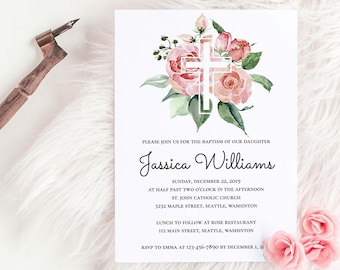 baptism invitation template etsy