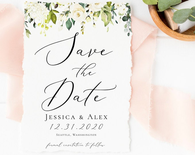 Save the Date, White Floral Invitation Template, White Greenery, Printable Invitation, INSTANT DOWNLOAD, Editable Text, DIY, Templett, F7