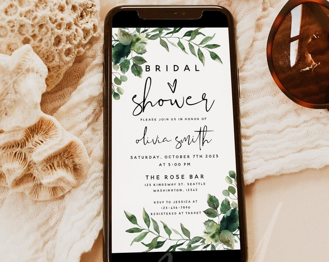 Bridal Shower Invitation Template, Electronic Bridal Shower Invitation, Greenery Boho Bridal Shower Mobile Invitation, Instant Download, G5