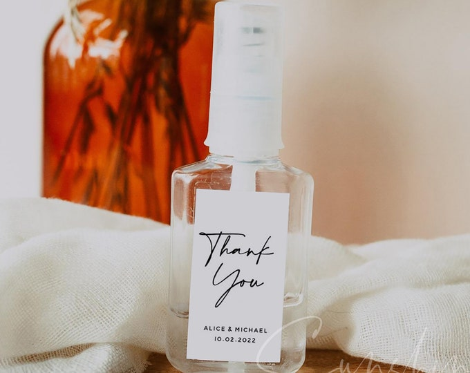 Wedding Hand Sanitizer Label, COVID Wedding Label, Printable Mini Hand Sanitizer Favor Editable Text Minimalist Instant Download Templett M3