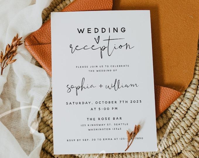 Wedding Reception Invitation Template, Reception Invitation Template, Elopement Announcement Invitation, Instant Download, Templett, M8