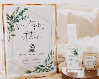 Greenery Hand Sanitizer Label Sign Kit Template, Sanitizing Station Sign, Wedding Printable Mini Hand Sanitizer Labels, Instant Download, G5