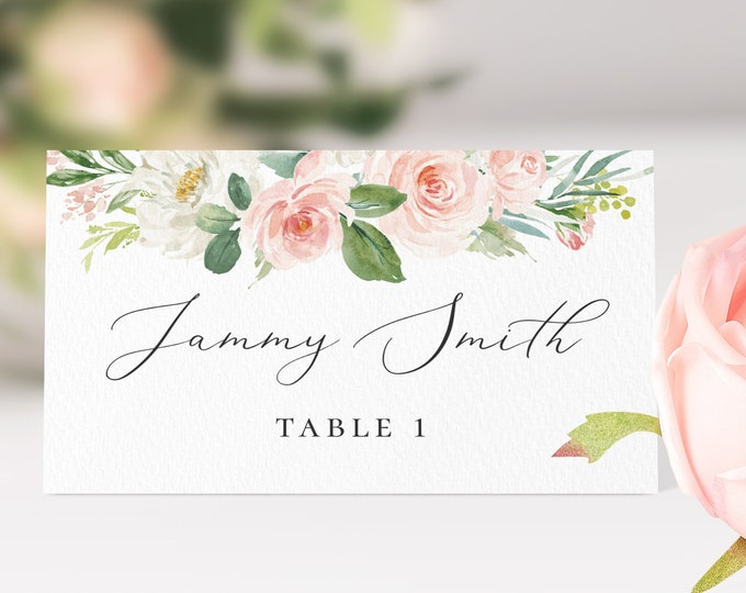 Wedding Place Card Templates Wedding Name Card Template Boho Blush Florals Place Card Fully Editable Printable INSTANT DOWNLOAD Templett F5A