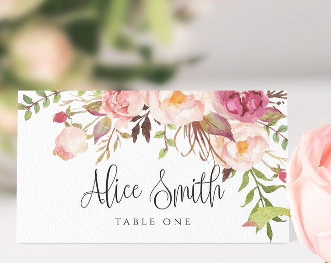 Wedding Place Card Template, Marsala Wedding Name Card Template, Pink Florals, 100% Editable Text, Printable, Instant Download, Templett, F4