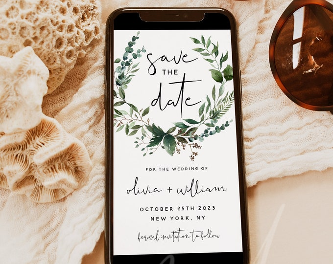 Electronic Save the Date Template, Greenery Wedding, DIY Digital Save the Date Evite, Editable Save the Date, Instant Download, Templett, G5