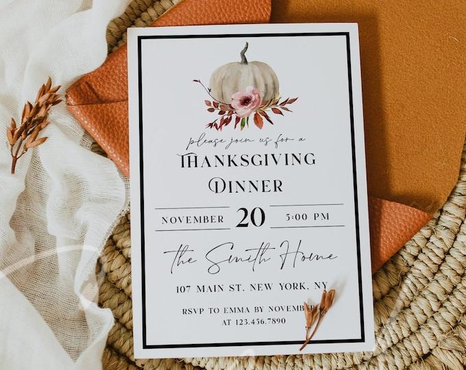 Thanksgiving Invitation, Thanksgiving Dinner Invitation, Pumpkin Party Invitation Card, Printable Thanksgiving Invite, Instant Download, TG6