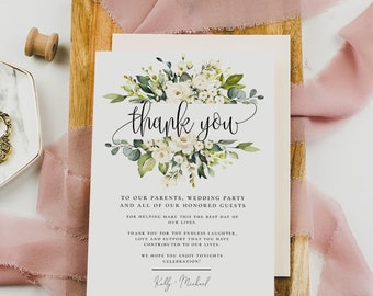 Wedding Thank You Card Template, White Floral Thank You Card, Marsala Boho Wedding, Printable Template, Editable Text, Instant Download, F7
