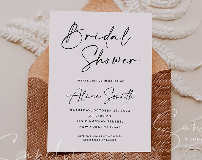 Modern Minimalist Bridal Shower Invitation Template, Printable Wedding Bridal Shower, Electronic Bridal Shower, Templett Instant Download M3