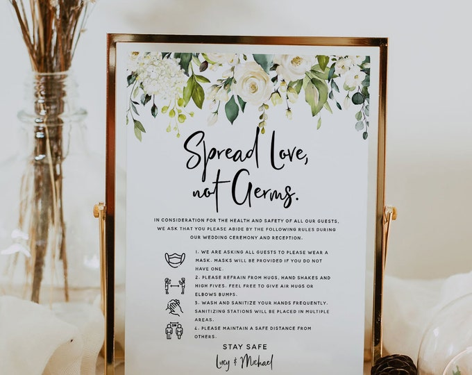Covid Safety Sign, Wedding Covid Sign, Covid Safety Rules + Guidelines, Printable Signs, White Floral Wedding, Wedding Instant Download, F7