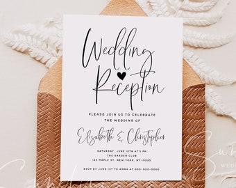 Wedding Reception Invitation Photo, Boho Invitation Template, Elopement Announcement Invitations, Modern Editable Invites, Minimalist, M5