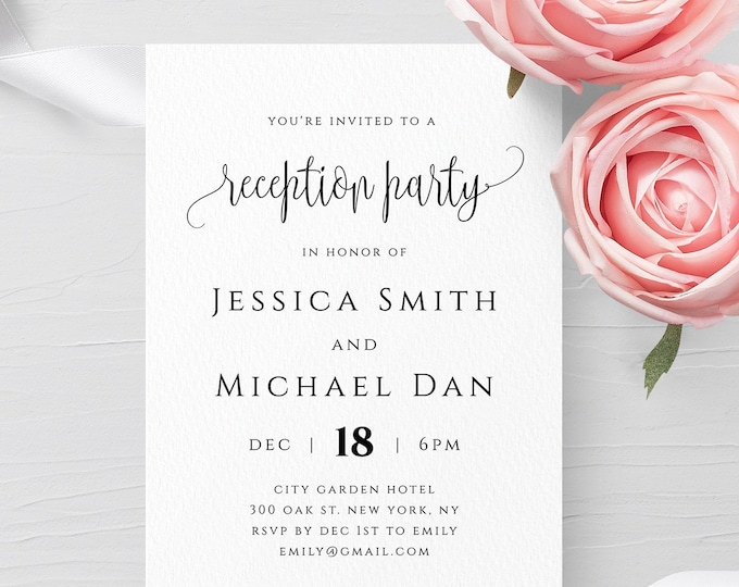 Reception Party Invitation Template Printable Editable Wedding Invitation Template Templett Wedding Invitation Template Instant Download R1