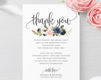 Navy & Blush Wedding Thank You Card Template Floral Wedding Thank You Card Editable Template Printable Template INSTANT DOWNLOAD Templett F6
