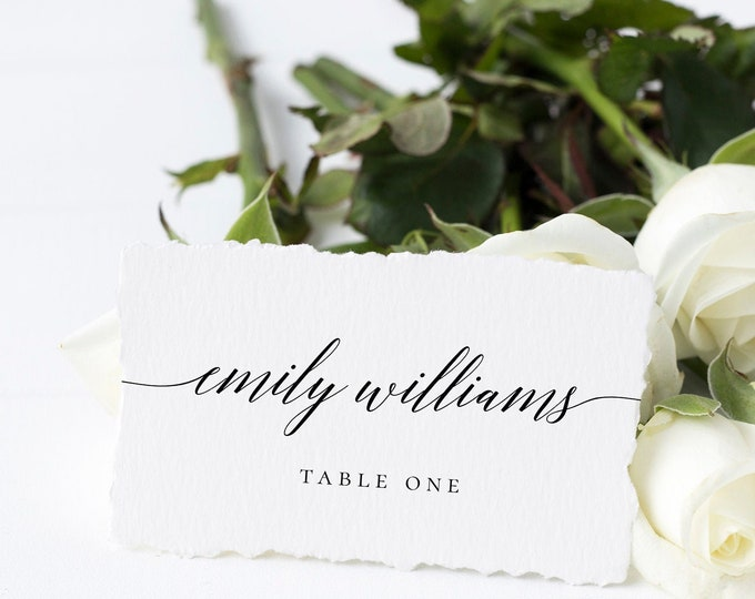 Wedding Place Card Templates Wedding Rustic Name Card Template Calligraphy Place Cards Fully Editable Printable INSTANT DOWNLOAD Templett R2