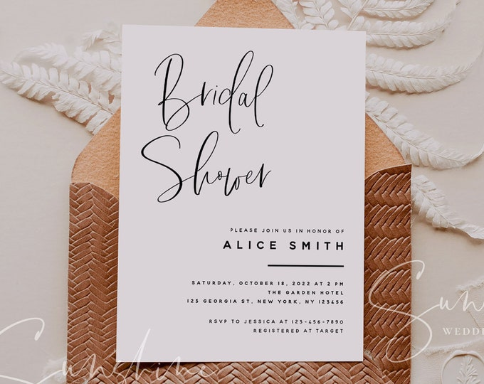 Modern Minimalist Bridal Shower Invitation Template, Printable Wedding Bridal Shower, Electronic Bridal Shower, Templett Instant Download M5