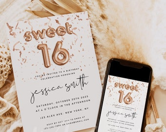 Sweet 16 Birthday Invitation Card Template, Balloon Birthday Party Invitation Cards, Printable Birthday Invitation Cards, Instant Download