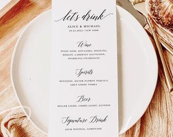 Modern Wedding Drink Menu Template, Minimalist Wedding Drink Menu, Printable, Digital Download, Reception Dinner Menu, 100% Editable, DIY R2
