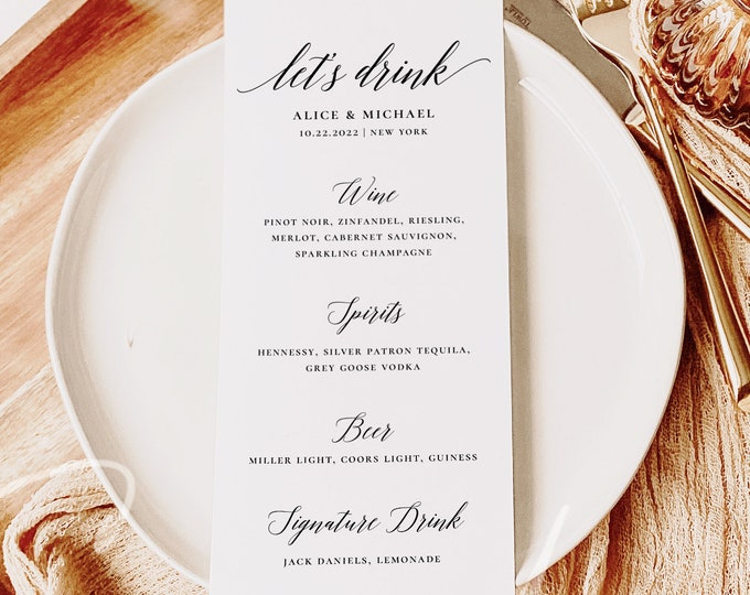 Modern Wedding Drink Menu Template, Minimalist Wedding Drink Menu, Printable, Digital Download, Reception Dinner Menu, 100% Editable, DIY R2