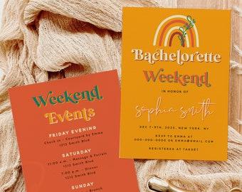 Retro Bachelorette Party Invitation Template, Bachelorette Weekend Events Template, Retro Party Invitation, Instant Download, Templett RETRO