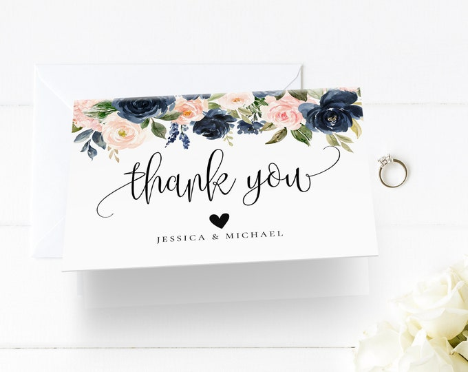 Wedding Thank You Card Template, INSTANT DOWNLOAD, 100% Editable, Printable, Navy Blush floral, Boho Wedding, Folded Card, DIY, Templett, F6