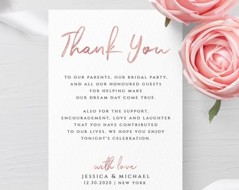 Thank You Card Template Wedding Printable Thank You Editable Thank You Template Thank You Note Thank You Cards Instant Download Templett M1