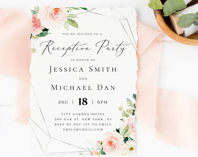 Wedding Reception Party Invitation Template Blush Silver Printable Reception 100% Editable Reception Templates Instant Download Templett F5B