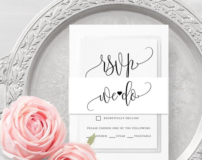 Belly Band Wedding Invitation Template INSTANT DOWNLOAD Bellyband Fully Editable DIY Template Bellyband Printable Template Simple Modern R1