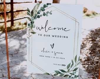 Greenery Wedding Welcome Sign Template, Wedding Welcome Sign Board, Printable Welcome Sign Cards, Editable Template, Instant Download, G5