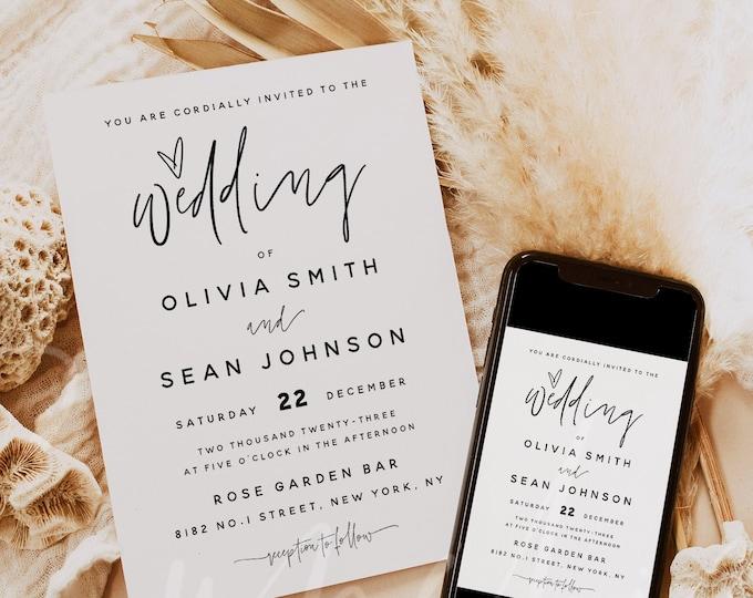Modern Wedding Invitation Template, Minimalist Wedding Invitation Template, Printable Wedding Invitation, Instant Download, Templett, M7