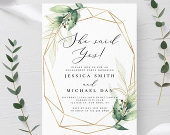 Self-Editing Engagement Party Invitation INSTANT DOWNLOAD 100% Editable Text Engaged Announcement Template Boho Greenery Templett Engaged G1