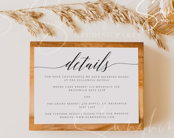 Wedding Details Card Template Fully Editable Printable Wedding Information Card Wedding Accommodations Card Template Templett Calligraphy R2