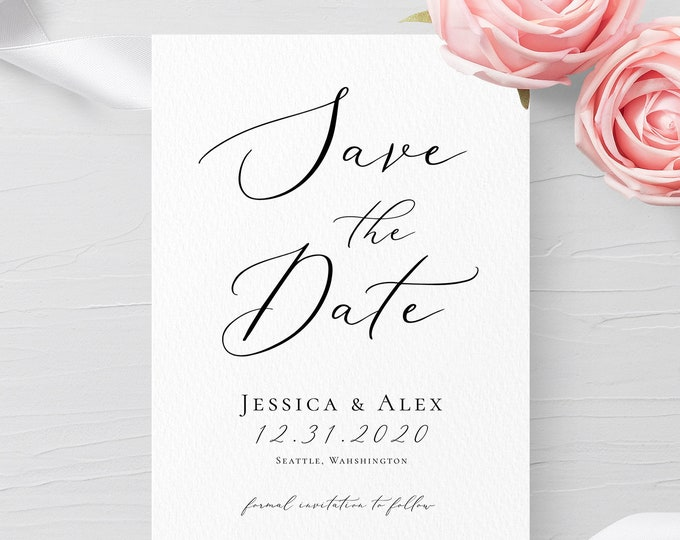 Save the Date Template Printable Save the Date INSTANT DOWNLOAD 100% Editable Modern & Simple Kraft DIY Save the Date template Templett R3