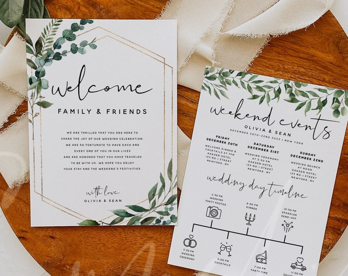 Greenery Wedding Welcome Letter & Itinerary Template, Weekend Events Timeline Template, Order of Events Card, Instant Download, Templett, G5
