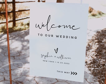Wedding Welcome Sign Template, Minimalist Welcome Sign Board, Modern Welcome Sign Poster, DIY Welcome Sign, Instant Download, Templett, M8