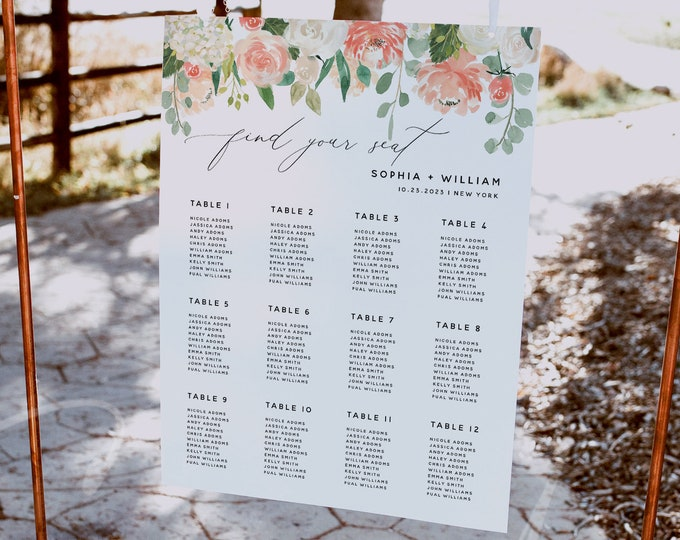 Peach Floral Wedding Seating Chart Sign Template, Printable Creamy Orange Floral Seating Chart Board Template, Instant Download, Templett F1
