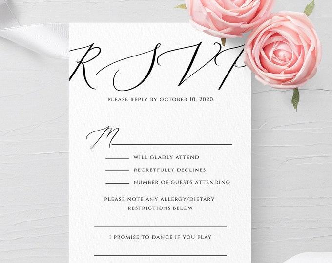 Printable Wedding RSVP Card Template Rustic Editable Wedding Response Card rsvp Minimalist Wedding RSVP Card Instant Download Templett R3