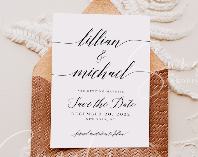 Wedding Save the Date Photo Template Calligraphy DIY Printable Save the Date Rustic 100% Editable Save the Date Instant Download Templett R2