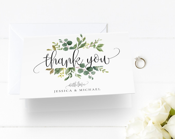 Thank You Note Card Template, Printable Greenery Wedding / Bridal Shower Folded Card, INSTANT DOWNLOAD, 100% Editable Text, Templett, G3