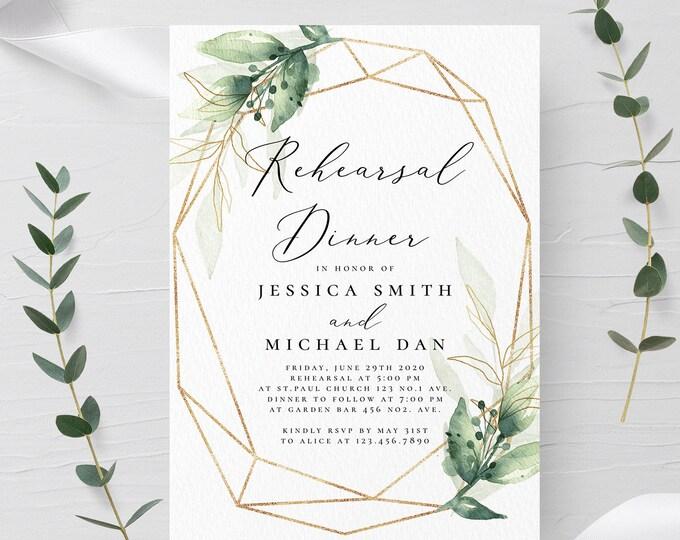 Greenery Rehearsal Dinner Template INSTANT DOWNLOAD 100% Editable Text Printable Rehearsal Invite DIY Templett Digital Invitation Wedding G1