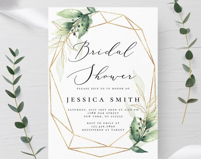 Bridal Shower Invitation Template Greenery and Gold 100% Editable Text Printable Eucalyptus Bridal Shower Card Instant Download Templett G1