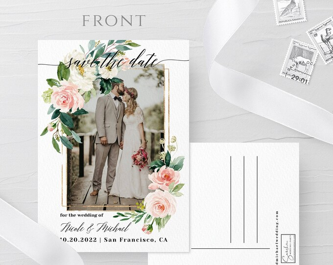 Photo Postcard Save the Date Template, Blush White Floral, Photo Save the Date, DIY Printable, Editable Save the Date Picture Template, F5