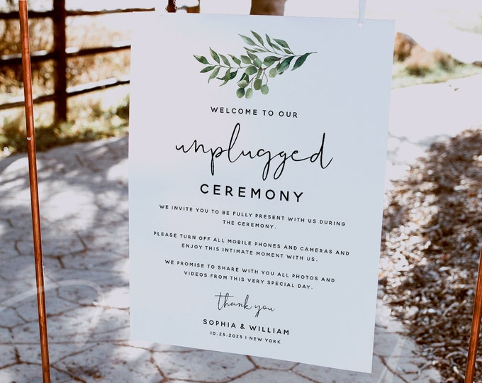 Unplugged Ceremony Sign Template, No Pictures, No Photos Please, Greenery Unplugged Sign, Wedding Sign, Instant Download, Templett, G5