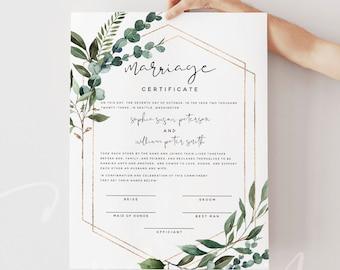 Certificate of Marriage Template, Greenery Wedding Certificate, Editable Wedding Vow Keepsake, Instant Download, 8x10, 16x20, Templett, G5